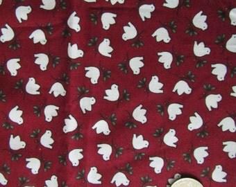 White Christmas Doves on Burgundy Background   destash  225