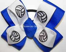 Volleyball Hair Bow Electric Royal Blue Ponytail Holder Pigtail Girls Hair Accessories Travel Camp Practice Team Spirit Custom Color Choice