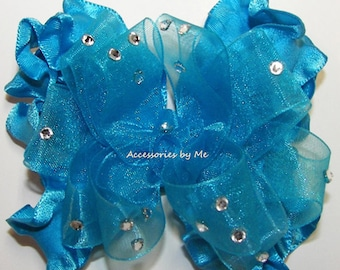 Turquoise Blue Hair Bow, Organza Ruffle Ribbon Hairbow, Girls Baby Toddler Accessories Clip, Glitz Pageant Bows Barrette, Birthday Hairbows