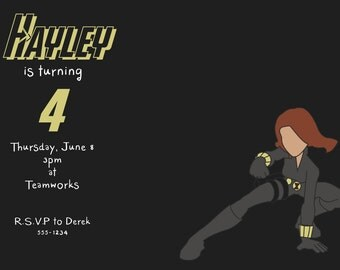 Custom Avengers Black Widow Birthday Party Invitation - Printable