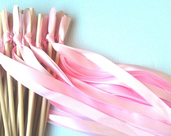 75 Wedding Wands with three satin ribbons no bell / satin ribbon wands / ceremony wands /  pick your colors  / send off / streamers bubbles