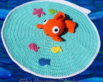 Crochet Goldfish Lovey Lovie Blanket