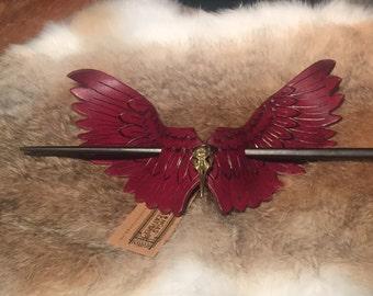 Handmade Leather Red Bird Hair Barrette