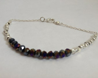 dainty black metallic crystals with silver plate beads, sparkle
