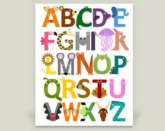Animal Alphabet Poster Print, Children's Art for Nursery or Kid's Room, 18x24