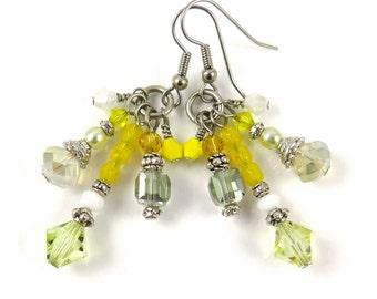 MAJOR MARKDOWN - Summer Yellow Multi Colored Tassel Statement Earrings