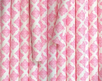 25 Pink Damask Paper Straws - Birthday Wedding Party Decor Decoration Supplies