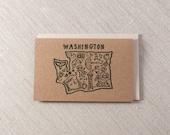 Washington State Sketch Letterpress Greeting card