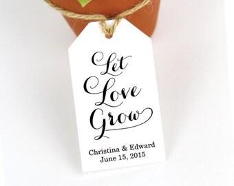 Let Love Grow - Succulent Favors Wedding Favor Tags - Plant Favor Tags - Seed Favor - Seed Wedding Favors - Party Favor Tags - SMALL