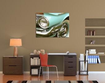 One Headlight - Original Fine Art Gallery Wrapped Canvas (vintage, retro, classic cars, masculine, automobile, antique)