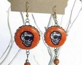 DOA IPA Beer Bottle Cap BEERings Repurposed Earrings Mexican Beer Sugar Skulls Jewelry