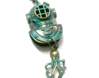 Diving Helmet Necklace deep sea diver Handmade Gift