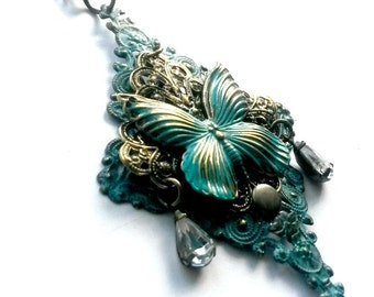 Steampunk Butterfly Necklace Patina filigree Handmade Gift