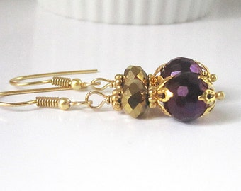 Purple and Gold Crystal Drop Earrings, Purple Bridesmaid Jewellery, Bridal Party Gifts, Eggplant and Gold Wedding, Crystal Dangles