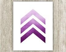Chevron Printable, 8x10, Instant Download, Purple Ombre Watercolor Chevron, Modern Chevron Print, Chevron Wall Art, Chevron Arrows Print