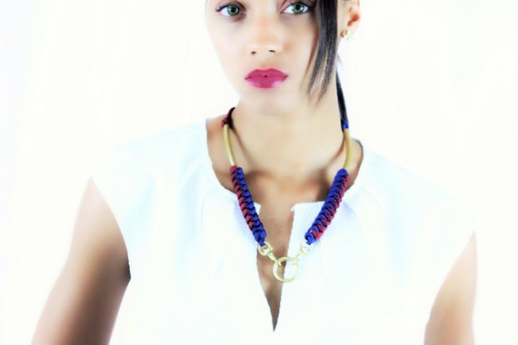 Paracord Corkscrew Brass Tubes and Snap Hook Statement Necklace