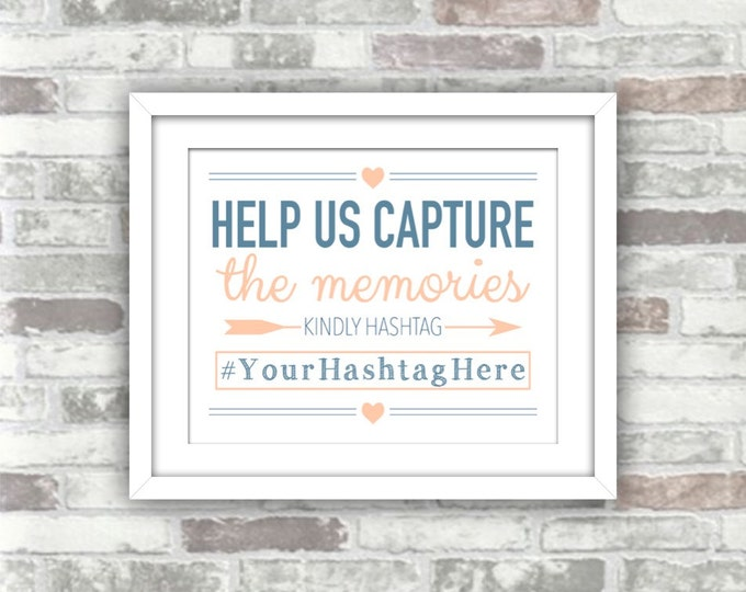 PRINTABLE Digital File - Wedding Hashtag Sign Personalised - Blue Blush Pink Navy - Help us capture the memories - nautical beach seaside