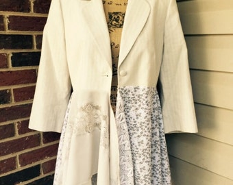 Shabby chic jacket duster vintage with Chiffon and Lace. Size Lagenlook OOAK Romantic Gypsy Festival Upcycled Wearable Art