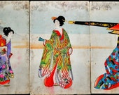 Toyohara Chikanobu Geisha Hand Painted Woodblock - Antique  Triptych - Geisha with Palanquin Series - Ladies of Chiyoda Palace - Courtesans