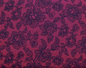 SALE One Yard Fuchsia and Black Flower Lace Print / Zelda Jewel - Michael Miller Fabric