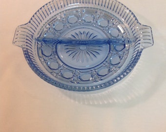 Vintage Blue Indiana Glass Divided Relish Dish