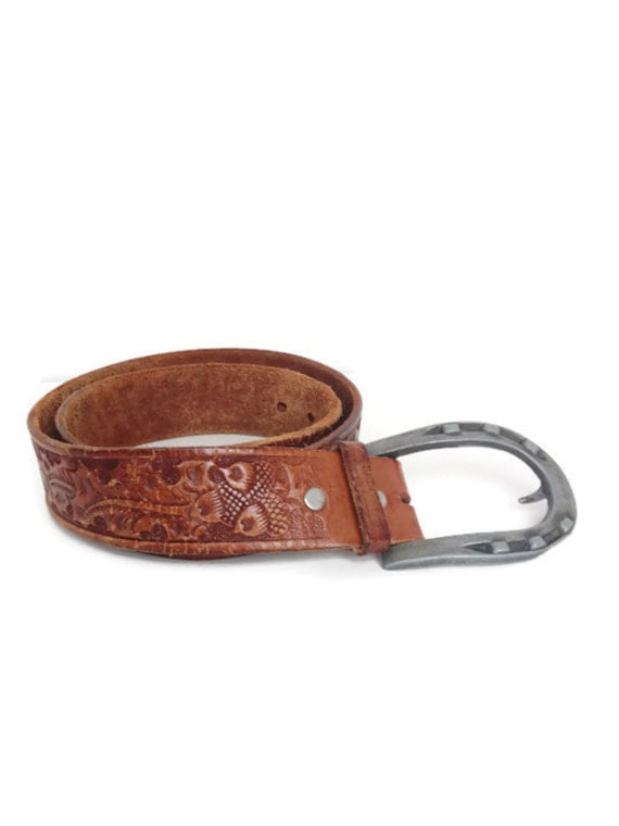 vintage looper leather belt tooled leather by