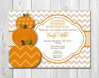 Little Pumpkin Baby Shower Invitation - DIY - Printable