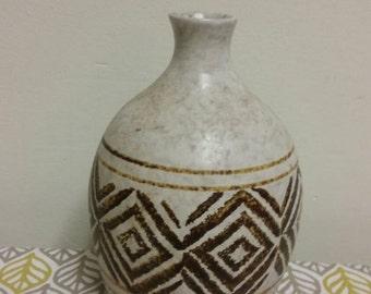 Mid Century Treasure Craft Stoneware Pottery Bud Vase Large