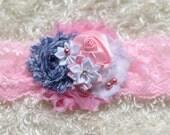 baby headband,white blue pink baby Headband, baby Headbands, shabby Baby headband, newborn headband, flower headband, baby girl  hairbow