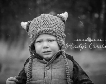 Hand Crocheted Viking Hat of all sizes! Newborn-Adult
