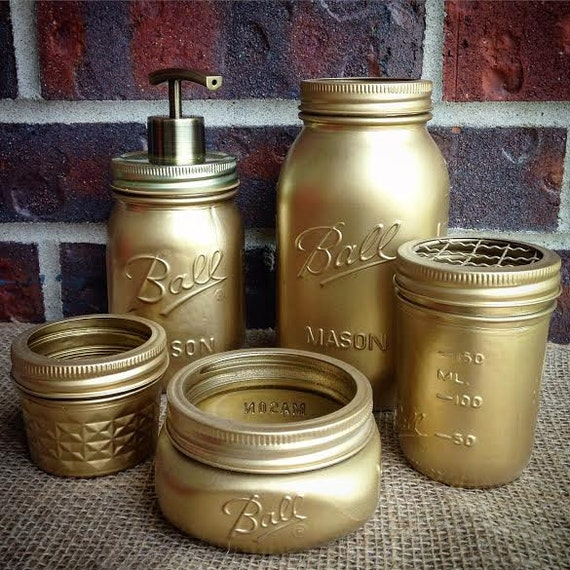 bathroom accessories jar bathroom set by thecrownedlily