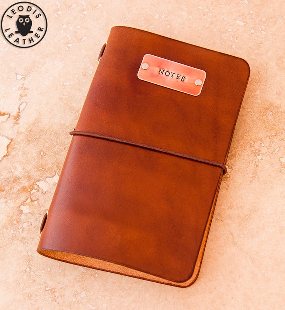 Leather Moleskine Cahier Notebook Cover with Copper Tag (Light Brown)