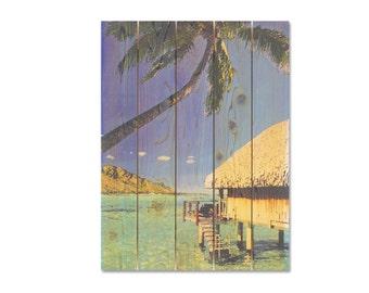 28x36 Tropical Caban on Water on Cedar, Wooden Wall Art, Home Decor, Indoor Outdoor Safe Art (TP2836)