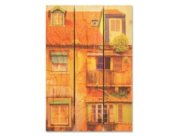 16x24 European House on Cedar Wood, European Style, Home Decor, Wall Hanging, Colorful Art, Inside or Outside Safe (PH1624)