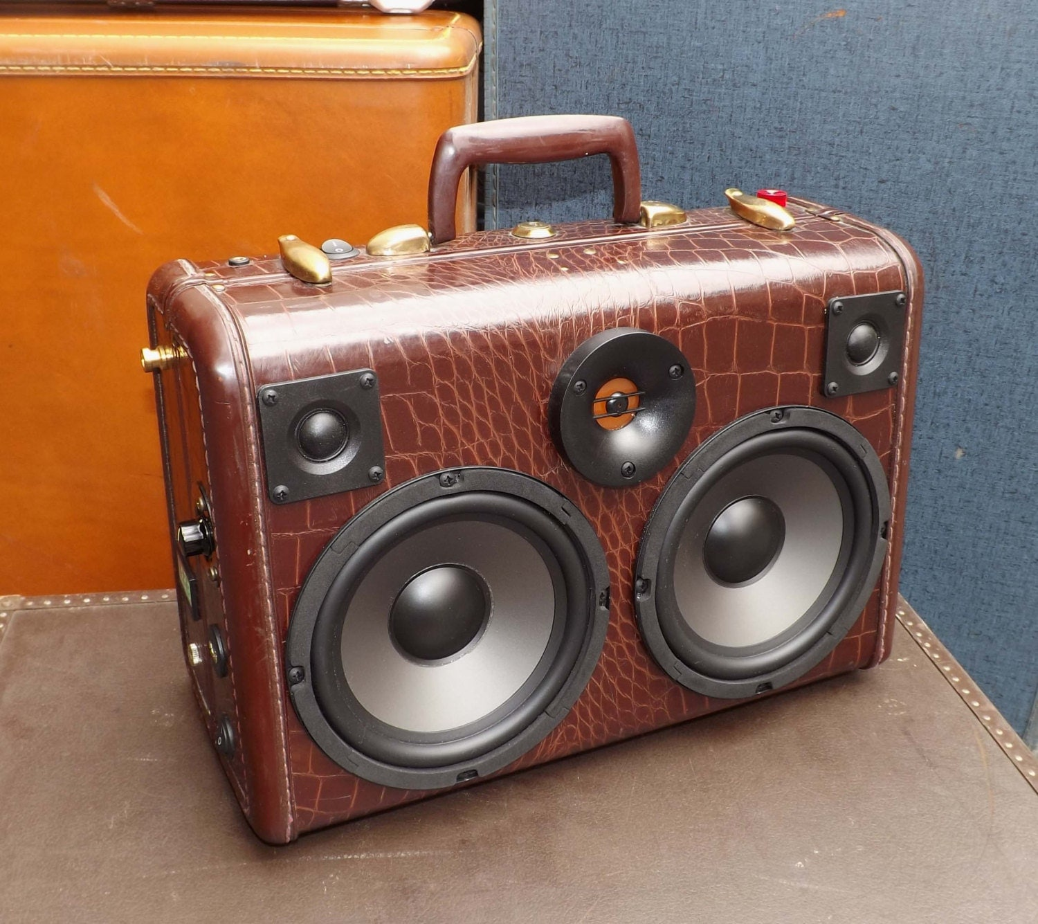 SOLD BLUETOOTH Vintage Suitcase Boombox Rechargeable Battery