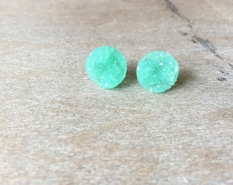 Mint Druzy Earring Posts - 12mm Mint Druzy -Titanium Studs- Sensitive Ears-Druzy Earrings- Faux Druzy Earrings