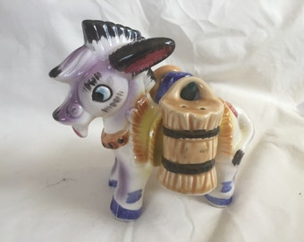 Vintage Salt and Pepper Set- Burro with Hay