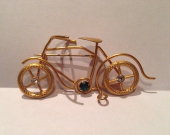 Handmade Bicycle Brooch in  Copper