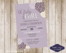 BABY SHOWER PURPLE Invitation, Printable Baby Shower Invite, Floral Baby Shower, Floral Rose Invitation, Purple Flower Baby Shower Invite