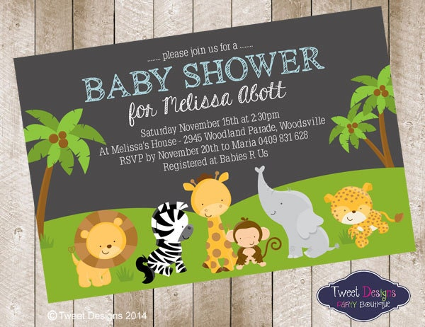 jungle animals baby shower invitation printable jungle baby
