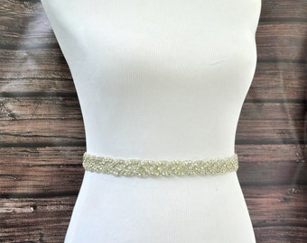 AUDREY Wedding Belt, Bridal Belt, Wedding Sash, Bridal Sash, Crystal Rhinestone Belt, Wedding Dress Sash Belt, Jeweled Beaded Belt
