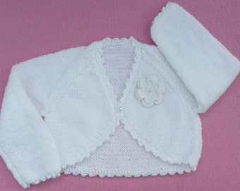 Baby sweater. Baby girl hand knitted white baby bolero cardigan to fit 6 to 12 months