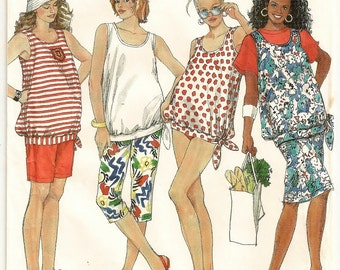 "A Maternity Sunsuit / Top, Capri Pants, Shorts & Slim Skirt Sewing Pattern: Uncut- Sizes 8-10-12-14 Bust 31-1/2"" to 36"" • Simplicity 9723"