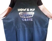 Men's Funny Black Apron, Father's Day Gift w/ Silver Metallic Image