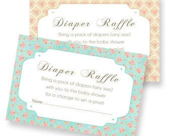 Chabby Chic Vintage Flower - Diaper raffle printable card - For Baby Shower- Teal, Coral and cream INSTANT DOWNLOAD