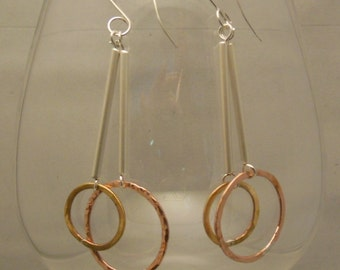 Silver, Copper and Brass dangle earrings