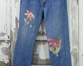 Hippy Patched Denim Jeans Floral Patchwork Upcycled Clothing Women's 505 Levis