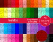 75% OFF Sale - 56 Digital Papers - Love Letters - Instant Download - JPG 12x12 (DP256)