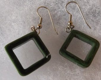 Vintage Silvertone and Green Square Dangle Pierced Earrings  CL10-47