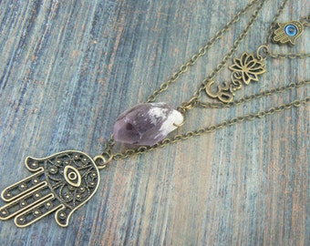layered boho necklace spiritual layered necklace zen necklace buddha necklace quartz pendant ohm necklace in yoga boho gypsy style